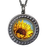 "Sunflower Circular Reversible Vintage ""Leaf"" Pendant"