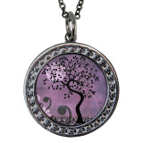 "Tree of Life Purple Circular Reversible Vintage ""Leaf"" Pendant"