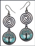 Tree of Life Teal Circle Spiral Earrings