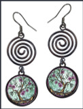 Tree of Life Fusia Circle Spiral Earrings