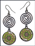 Green Brown Flower Circle Spiral Earrings