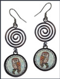 Owl Blue Circle Spiral Earrings