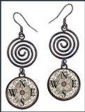 Compass Circle Spiral Earrings