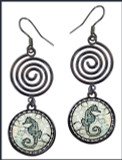 Seahorse Circle Spiral Earrings