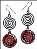 Black White Red Flower Circle Spiral Earrings