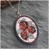 Red Rose Reversible Silver Oval Pendant
