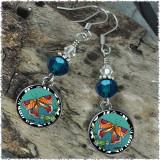Tropical Butterfly Crystal Circular Earrings