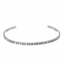 """LIFE BEGINS AT THE END OF YOUR COMFORT ZONE"" Stainless Steel Cuff Bracelet"