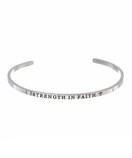 """STRENGTH IN FAITH"" Stainless Steel Cuff Bracelet"