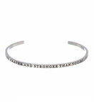 """YOU ARE BRAVER AND STRONGER THAN YOU BELIEVE"" Stainless Steel Cuff Bracelet"
