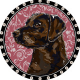 Brown Lab Pendant (pink)