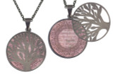 "Poetry Tree - Light Pink Background - God Grant Me The Serenity To Accept The Things I Cannot Change. Stainless Steel Tree of Life on Stainless Steel Chain. Nice Quality Substantial Weight. 28"" Regular Stainless Steel Chain W- 1 1/8, H- 1 1/8, D- 1/8"" (thick)"