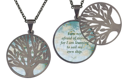 """Poetry Tree - Multi-Color Background - I Am Not Afraid Of Storms For I Am Learning To Sail My Own Ship. Stainless Steel Tree of Life on Stainless Steel Chain. Nice Quality Substantial Weight. 28"""" Regular Stainless Steel Chain W- 1 1/8, H- 1 1/8, D- 1/8"""" (thick)"""