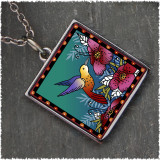 Hummingbird Square Reversible Pendant