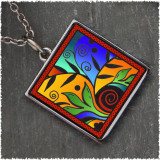 Leaf Flower Color Square Reversible Pendant