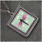 Green Dragonfly Reversible Square Pendant