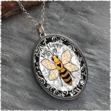 Bee Happy Reversible Silver Oval Pendant