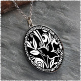 Flower Black Reversible Silver Oval Pendant
