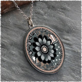 Grey Black Flower Reversible Silver Oval Pendant