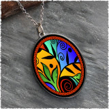 Leaf Flower Color Reversible Silver Oval Pendant