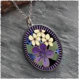 Purple Flower Reversible Silver Oval Pendant