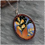 Red Blue Green Flower Reversible Silver Oval Pendant