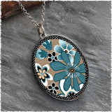 Teal Flower Reversible Silver Oval Pendant
