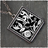 Flower Black Reversible Square Pendant