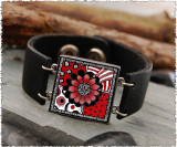 Black White Red Flower Double Sided Leather Cuff Bracelet