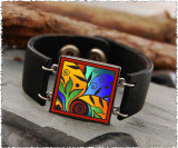 Leaf Flower Color Double Sided Leather Cuff Bracelet