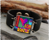 Wild Heart Double Sided Leather Cuff Bracelet