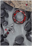 Black White Red Flower Reversible Beaded Open Circle Charm Pendant