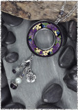 Purple Flower Reversible Beaded Large Open Circle Charm Pendant