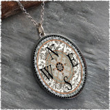 Compass Reversible Silver Oval Pendant