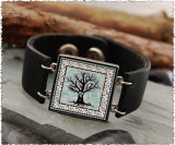 Tree of Life Double Sided Leather Cuff Bracelet
