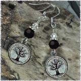 Tree of Life Crystal Beaded Circle Earrings