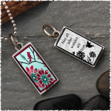 Bird Flower Reversible Rectangular Pendant
