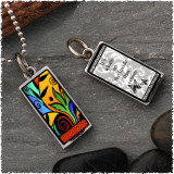 Leaf Flower Color Reversible Rectangular Pendant