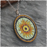 Sunflower Green Reversible Silver Oval Pendant