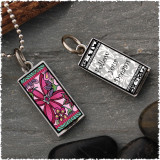 Pink Flower Reversible Rectangular Pendant