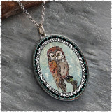 Owl Blue Reversible Silver Oval Pendant