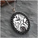 Leaf Flower Black White Reversible Silver Oval Pendant