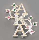 AKA Silver Lapel Pin with Ivy