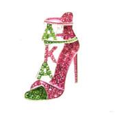 Alpha Kappa Alpha Pink and Green Shoe Lapel Pin