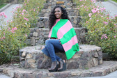 Alpha Kappa Alpha Apple Green and Salmon Pink Poncho