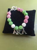 AKA Pink and Green Shamballa Bracelet