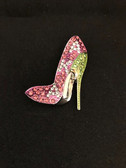 AKA Pink with Green Trim Rhinestone Lapel Pin