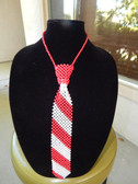 Red and White  Pearl Tie Necklace