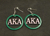 Alpha Kappa Alpha Pink and Green Metal Earrings