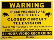 A3 CCTV Warning Sign Aluminium Composite Long Life Material Vivid Colour